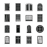 Plastic window forms icons set, simple style. Plastic window forms icons set. Simple illustration of 16 plastic window forms vector icons for web stock illustration
