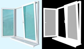 Plastic window with an open flap a mask. Window made ​​of white plastic profilewith a transparent glazing, with two open doors of different types of opening Royalty Free Stock Photo