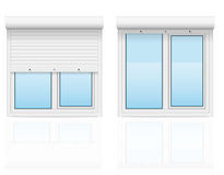 Plastic window with rolling shutters vector illustration Royalty Free Stock Photo
