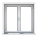 Plastic window with sunlight isolated on white background Royalty Free Stock Photo
