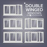 Plastic Window Vector. Double-Winged. White. PVC Windows. Plastic White Window Frame.  On Transparent Background. PVC Window Vector. Double-Winged. Opened And Royalty Free Stock Image