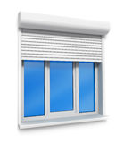 Plastic window in the wall isolated on white stock illustration