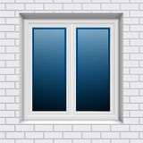 Plastic window in white brick wall from outside Royalty Free Stock Images