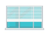 Plastic window with white half-mast blinds isolated illustration Royalty Free Stock Photography