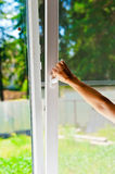 Plastic windows. With mosquito nets Stock Images