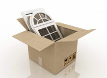 Plastic windows in cardboard box Royalty Free Stock Image
