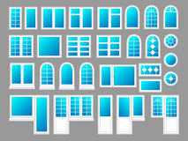 Plastic windows with doors, vector illustration set Stock Images