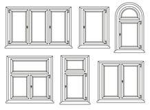 Plastic windows icons set. Vector illustration Stock Images
