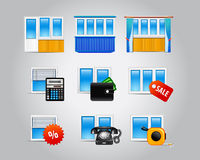 Plastic windows icons Stock Photos