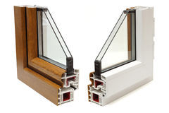 Plastic windows profile. Isolated on white stock photo
