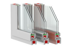Plastic Windows profiles. 3D rendering Royalty Free Stock Photography