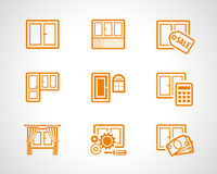 Plastic windows scetch icons Stock Photos