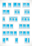 Window and glass door web logo list.. Set of vector icons of plastic windows for building industry, installation, repair and update company. Windows equipment Stock Photos