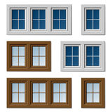 Plastic windows white brown Stock Images