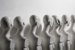 Plastic Woman Mannequins Standing in The Line stock photo