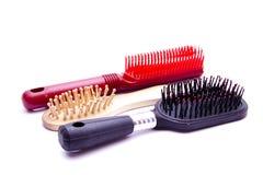 Plastic and wood hairbrush Stock Photo