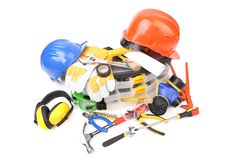 Plastic workbox with assorted tools. Royalty Free Stock Photography