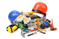 Plastic workbox with assorted tools. Stock Photos
