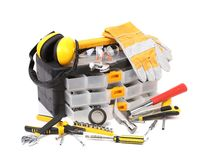 Plastic workbox with assorted tools. Royalty Free Stock Photos