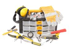 Plastic workbox with assorted tools. Stock Images