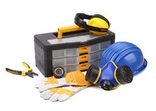 Plastic workbox with assorted tools. Stock Image