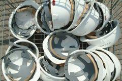 Plastic worker helmets Stock Photos