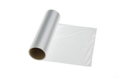 Plastic wrap. On a white background Royalty Free Stock Images