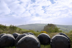 Plastic wrapped bales and windmills in tipperary Royalty Free Stock Photography