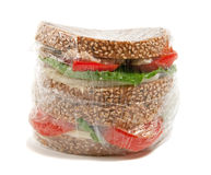 Plastic wrapped sandwich Royalty Free Stock Photo