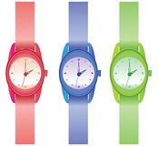 Plastic wristwatch. Simple wristwatch isolated on the white background Stock Photography