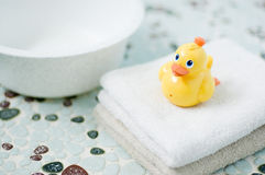Plastic yellow duck toy in bathroom. Toys for children Royalty Free Stock Image