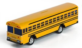 Plastic Yellow Toy School Bus Money Bank. Plastic yellow toy school bus coin bank. Isolated on white. Top front angle view. Great for school fund raising royalty free stock images