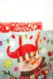 Plastic zak met sneeuwman Royalty-vrije Stock Fotografie