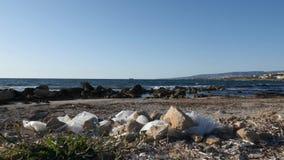 Plastic zakken en document afval op het zandige vuile strand Overzeese golven die het strand op de achtergrond raken Langzame Mot stock footage