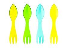 Plastica dei cucchiai variopinta Fotografia Stock