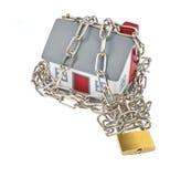 Plastica di modello della Camera con la catena ed il lucchetto Immagini Stock Libere da Diritti
