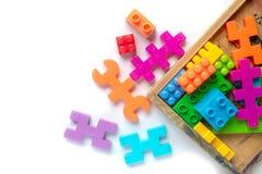 Plastica variopinta del giocattolo su fondo bianco Immagini Stock Libere da Diritti