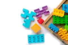 Plastica variopinta del giocattolo su fondo bianco Fotografia Stock