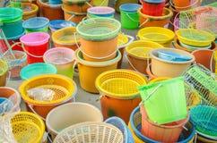 Plastica variopinta messa Fotografia Stock