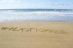 plasticfree zdanie na plaży zdjęcie stock