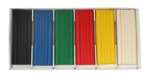Plasticine. Box of colored plasticine on a white background Stock Photo