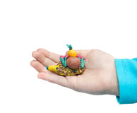 Plasticine. Hedgehog  in the hands Royalty Free Stock Photo