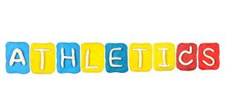 Plasticine alphabet form word ATHLETICS Royalty Free Stock Photos