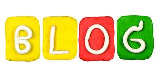 Plasticine alphabet form word BLOG Royalty Free Stock Images