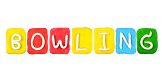 Plasticine alphabet form word BOWLING Royalty Free Stock Photo