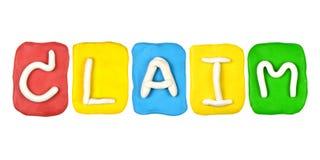 Plasticine alphabet form word CLAIM Stock Photos