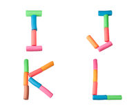 Plasticine alphabet letters (I,J,K,L). Alphabet letter made from plasticine Royalty Free Stock Photos
