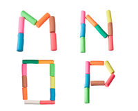Plasticine alphabet letters (M,N,O,P). Alphabet letter made from plasticine Royalty Free Stock Photo