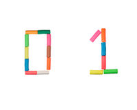 Plasticine alphabet Numbers (0,1). Alphabet letter made from plasticine Royalty Free Stock Images
