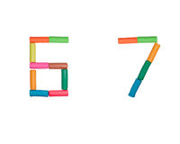 Plasticine alphabet Numbers (6,7). Alphabet letter made from plasticine Stock Images